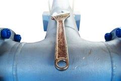 De flensmateriaal van de spoelpijp voor bouw metende post Stock Afbeeldingen