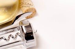 De fles, cork en de kurketrekker van de wijn Royalty-vrije Stock Fotografie