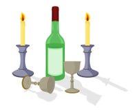 De fles, de drinkbekers en de kaarsen van de wijn Stock Afbeeldingen