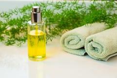 De fles, de handdoeken en greens van de nevelmist op badkamerscountertop Royalty-vrije Stock Fotografie