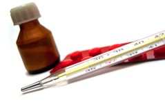 De fles, de tabletten en de thermometer van de geneeskunde Royalty-vrije Stock Afbeeldingen