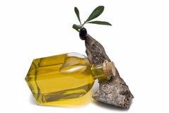 De fles die van de olie op een tak ligt. Stock Foto's