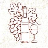 De Fles en de Druiven van de wijn Stock Afbeeldingen