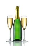 De fles en de glazen van Champagne Royalty-vrije Stock Afbeeldingen