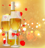De fles en de glazen van de wijn Stock Foto's