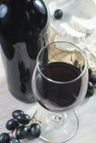 De fles en de kaas van het rode wijnglas Stock Foto