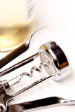 De fles en de kurketrekker van de wijn Royalty-vrije Stock Afbeeldingen