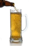 De fles en de mok van het bier stock foto's