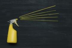 De fles en het aromastokkenwierook van de handspuitbus royalty-vrije stock afbeelding