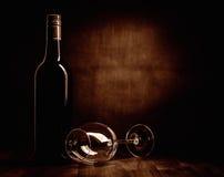 De fles en het glas van de Rewwijn Royalty-vrije Stock Afbeelding