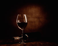 De fles en het glas van de Rewwijn Stock Fotografie