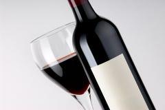 De Fles en het Glas van de wijn Royalty-vrije Stock Fotografie