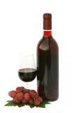De fles en het glas van de wijn met druiven Royalty-vrije Stock Foto