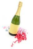 De fles en het lint van Champagne Stock Foto
