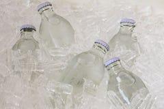 De fles soda het koelen op ijs Stock Afbeeldingen