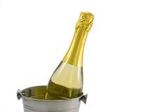 De fles van Champagne in een emmer op een wit Stock Foto's