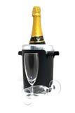 De fles van Champagne in koeler Stock Afbeelding