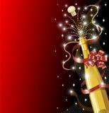 De Fles van Champagne met Rode Boog Royalty-vrije Stock Fotografie