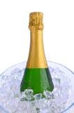 De Fles van Champagne van de close-up in de Emmer van het Ijs Royalty-vrije Stock Foto
