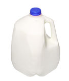 De Fles van de gallonmelk met blauw die GLB op Wit wordt geïsoleerd Stock Foto