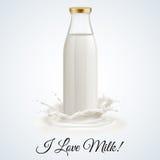 De fles van de melk Stock Afbeeldingen