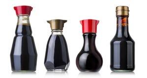 De fles van de sojasaus Stock Afbeelding