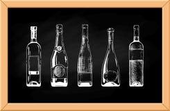 De fles van de wijn Stock Foto's