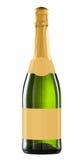 De fles van de wijn die met leeg etiket wordt geïsoleerds. Stock Foto's