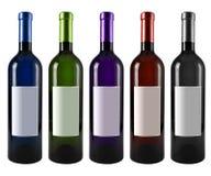 De fles van de wijn die op wit wordt geïsoleerdr Stock Afbeeldingen