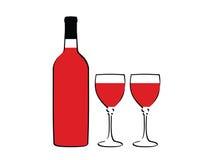 De fles van de wijn en glas twee Stock Afbeeldingen
