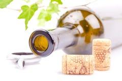 De fles van de wijn en kurkt Royalty-vrije Stock Foto