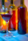 De fles van de wijn en wijnglas. Royalty-vrije Stock Afbeeldingen