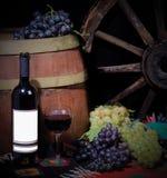De fles van de wijn met druiven en vat Royalty-vrije Stock Afbeelding