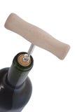 De fles van de wijn met kurketrekker Stock Fotografie