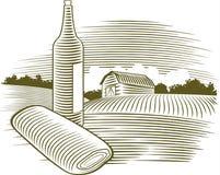 De Fles van de Wijn van de houtdruk Stock Foto's
