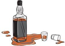 De fles van de wisky en ontsproten glazen Royalty-vrije Stock Afbeeldingen