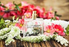 De Fles van het bloemparfum Stock Fotografie