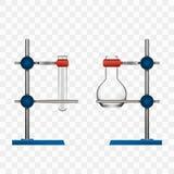 De Fles van het chemielaboratorium en van de Buizengreep Tribunehouder Stock Foto