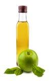 De fles van het glas appelazijn Stock Foto