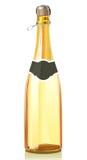 De fles van het glas met de gouden wijn van Champagne Stock Afbeeldingen