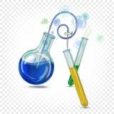 De fles van het glaslaboratorium om bodem en glasreageerbuizen met gekleurde iriserende vloeistof vector illustratie