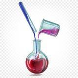 De fles van het laboratoriumglas, reageerbuis en hemical beker ? ? met een transparante iriserende gekleurde vloeistof stock illustratie