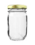 De Fles van het metaalglb Glas op witte achtergrond wordt geïsoleerd die Stock Afbeelding