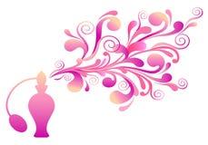 De fles van het parfum met bloemengeur royalty-vrije illustratie