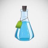 De fles van het voorraadlaboratorium op een lichte achtergrond Stock Afbeelding