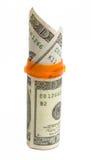De fles van het voorschrift met $20 geïsoleerde rekeningen. Royalty-vrije Stock Foto