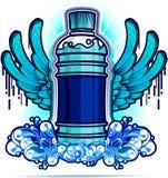 De fles van het water met blauwe vleugels Stock Foto
