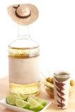 De fles van Tequila met sombrero Stock Foto
