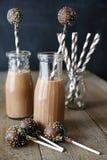 De flessen chocolademelk met stro en cake knalt Royalty-vrije Stock Foto's