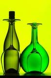 De flessen en de glazen van de wijn Stock Afbeelding